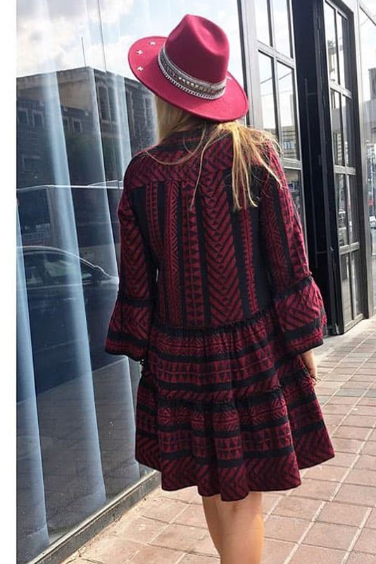 00110c36641 Dress Devotion twins Boho Woven dark Red Black - 2the Little Store ...