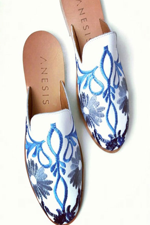 Leather Mules embroidery handmade in Greece