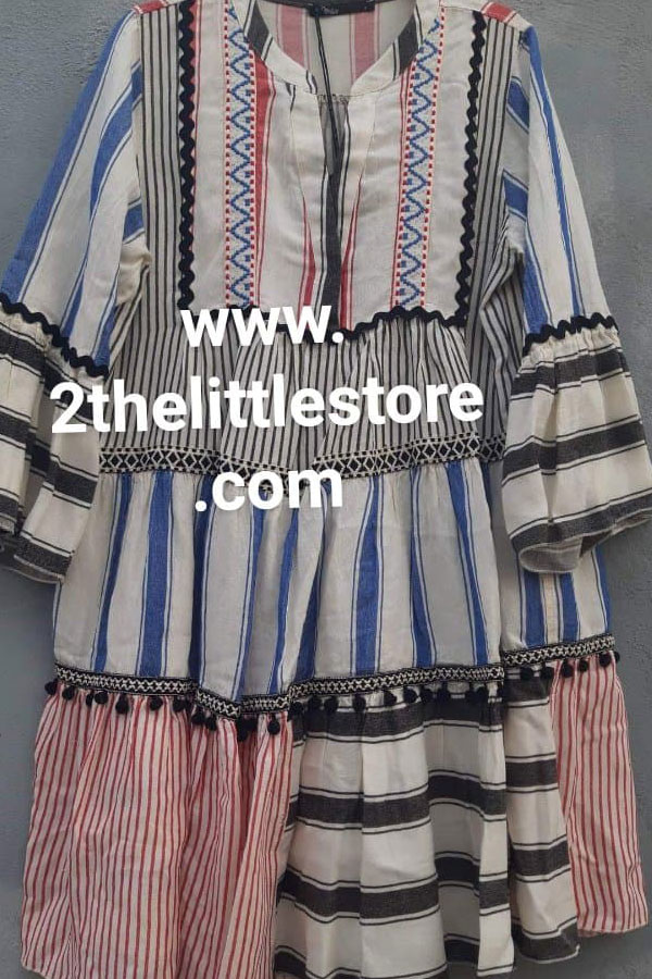 aa2c9196b4b Devotion twins dress pon pon Red Blue - 2the Little Store